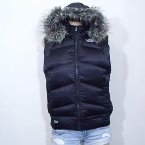 The North Face 550 Down Puffer Vest w/ Hood Fur